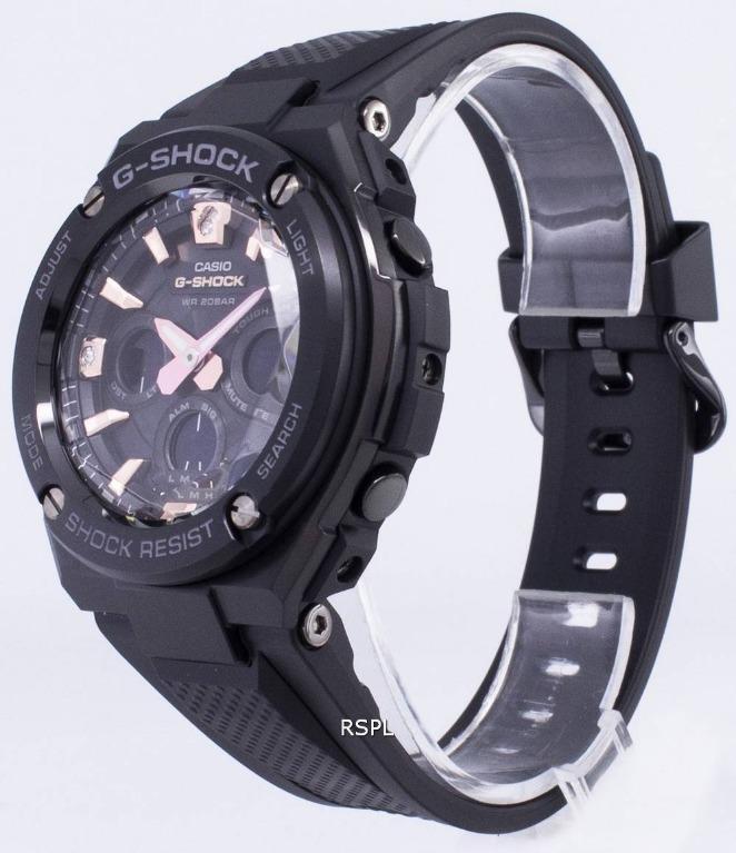 Casio G-STEEL Crystal Cut Diamonds GST-S310BDD-1A G-Shock Sporty Design TOUGH SOLAR Classic Black Resin Band Rose Gold Dial Original Watch GST-S310BDD