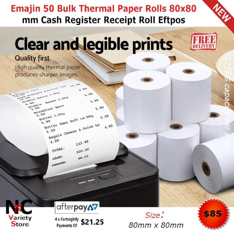 Emajin 50 Bulk Thermal Paper Rolls 80×80 mm Cash Register Receipt Roll Eftpos