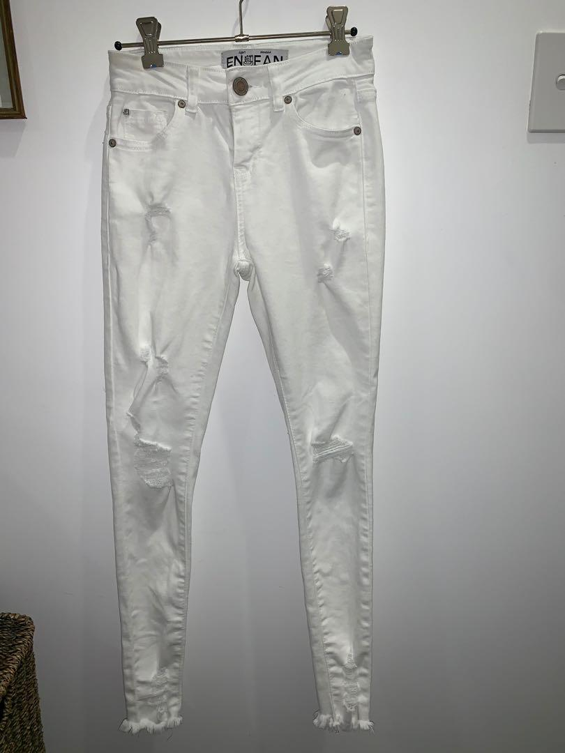 ENJEAN branded skinny white ripped jeans size 00/4
