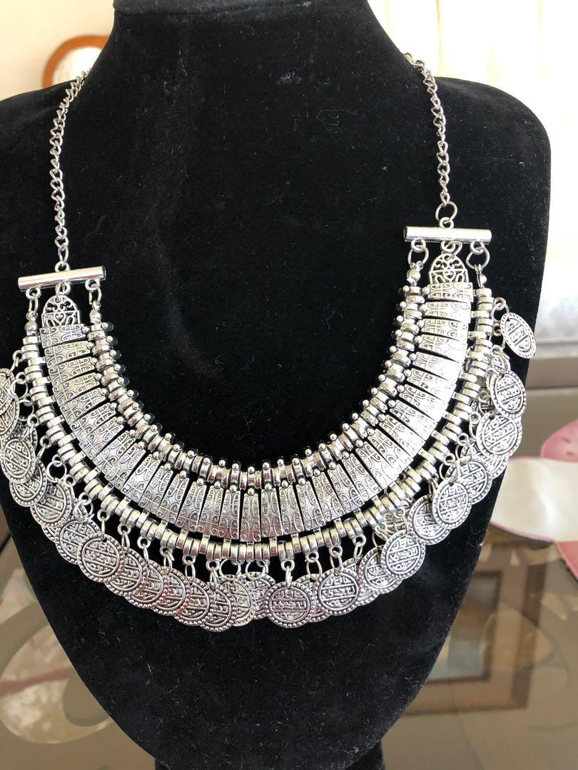 Ethnic gypsy bohemian Tribal boho coin statement necklace