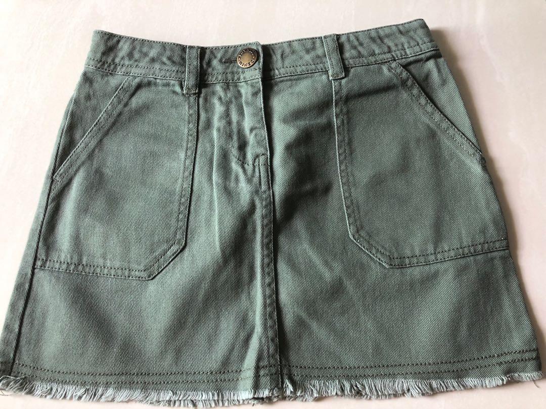 Fox Kids Army green denim skirt - 9yo