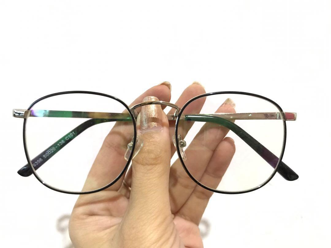 Frame kacamata steel warna black list silver