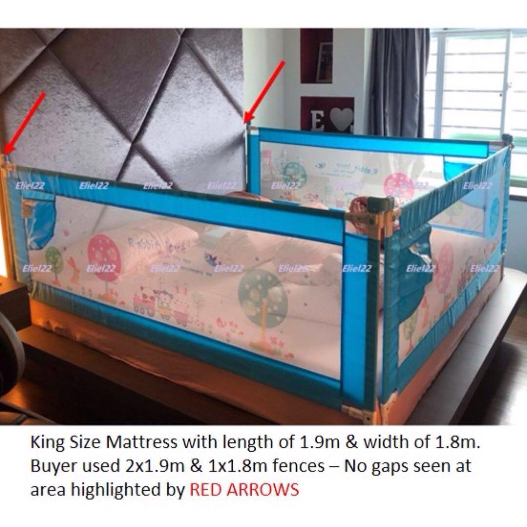 Free Delivery - Vertical Lift Baby Bed Rail Fence Guard (Ht 90cm, Rail size 0.8m, 1.5m, 1.8m, 1.9m & 2m)