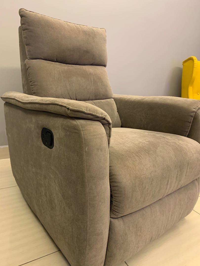 Grey colour soft fabric recliner **REDUCED**