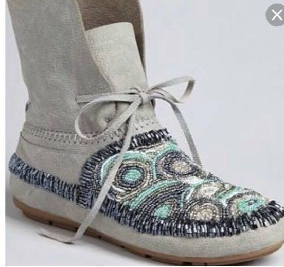 House of harlow genuine leather beadmoccasine booties