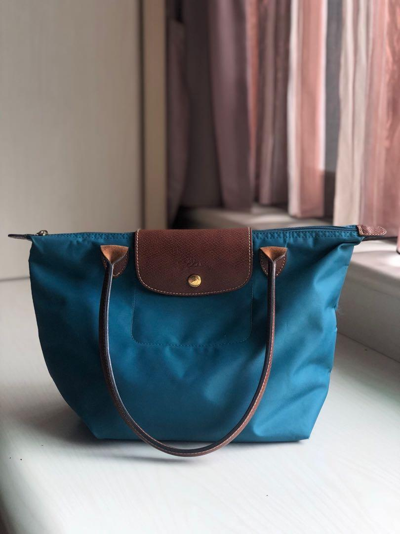 LONGCHAMP Le Pliage Collection 摺疊款 長把 摺疊 購物包 藍色