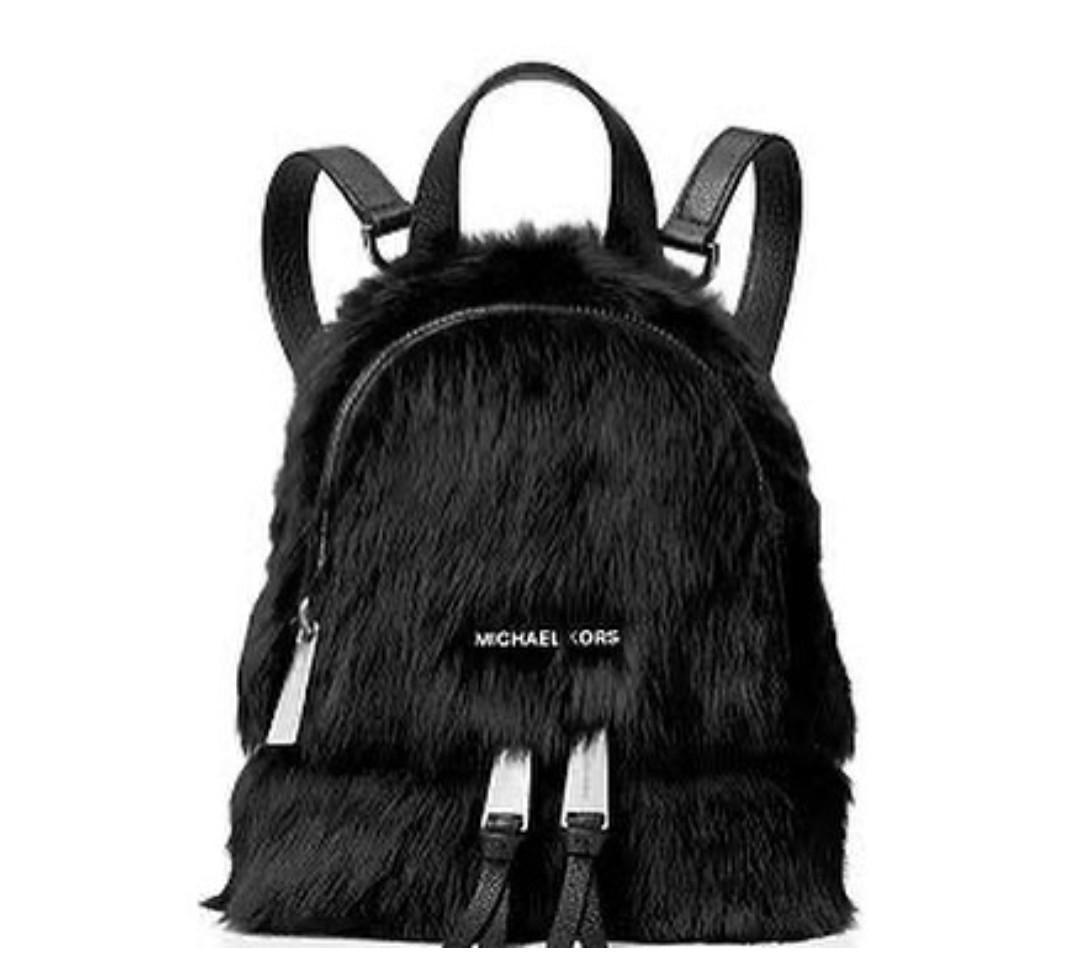 Michael Kors Rhea Xs Backpack Crossbody 27×21×8 Black Fur Shearling
