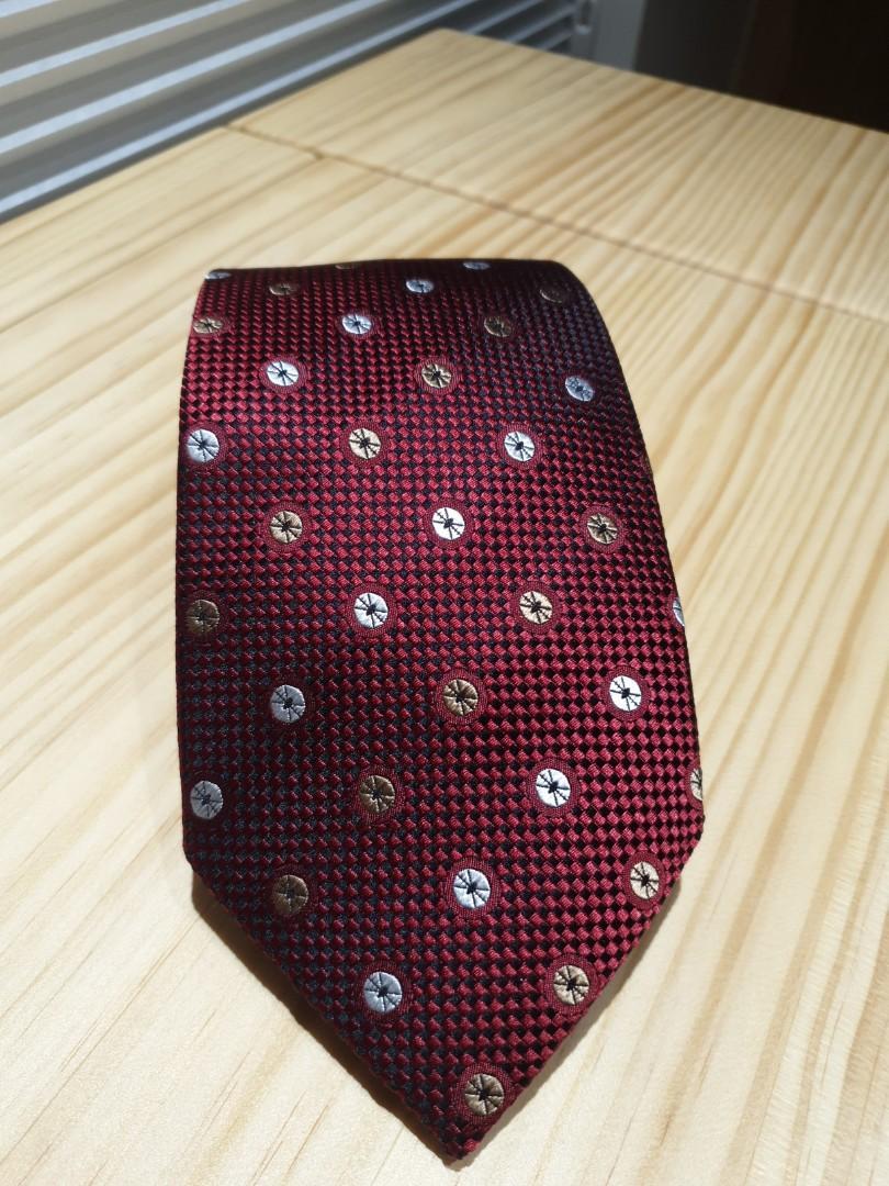 MILANO 紅色底佐金銀圈絲質領帶