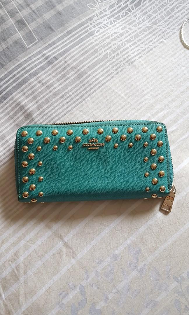 NEW Coach FREE POS authentic accordian zip genuine pebbled leather wallet  in aqua teal turquoise blue purse #midsale