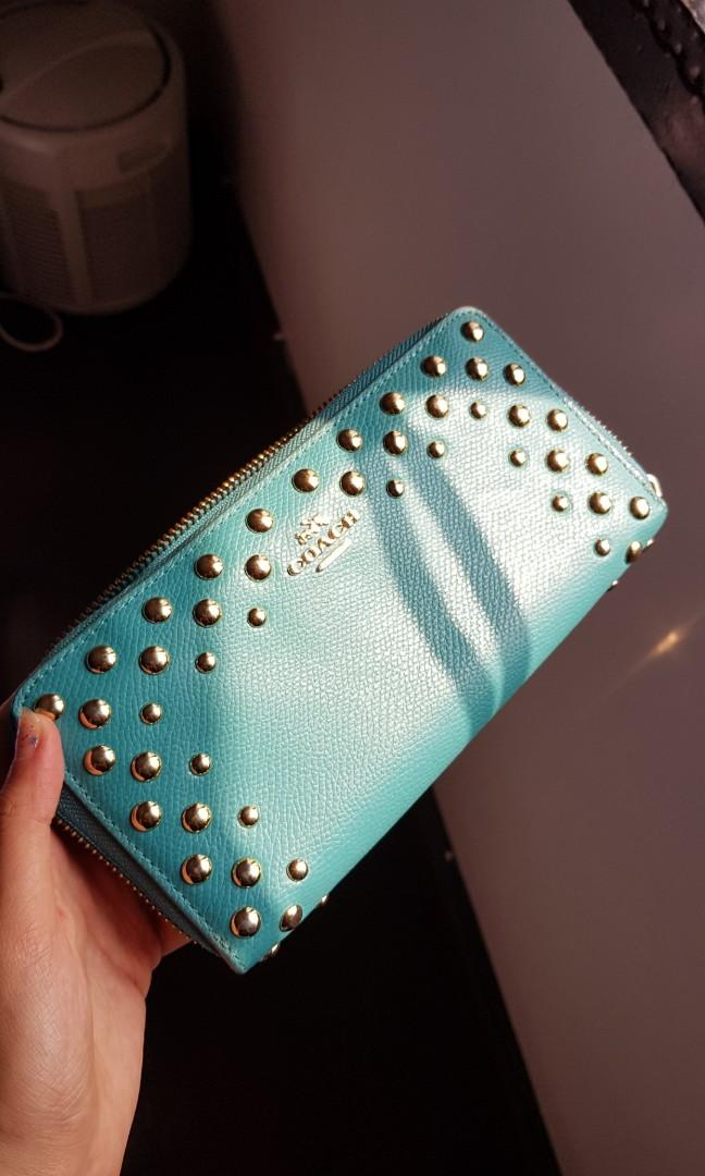 NEW Coach FREE POS authentic accordian zip genuine pebbled leather wallet  in aqua teal turquoise blue purse #blackfriday