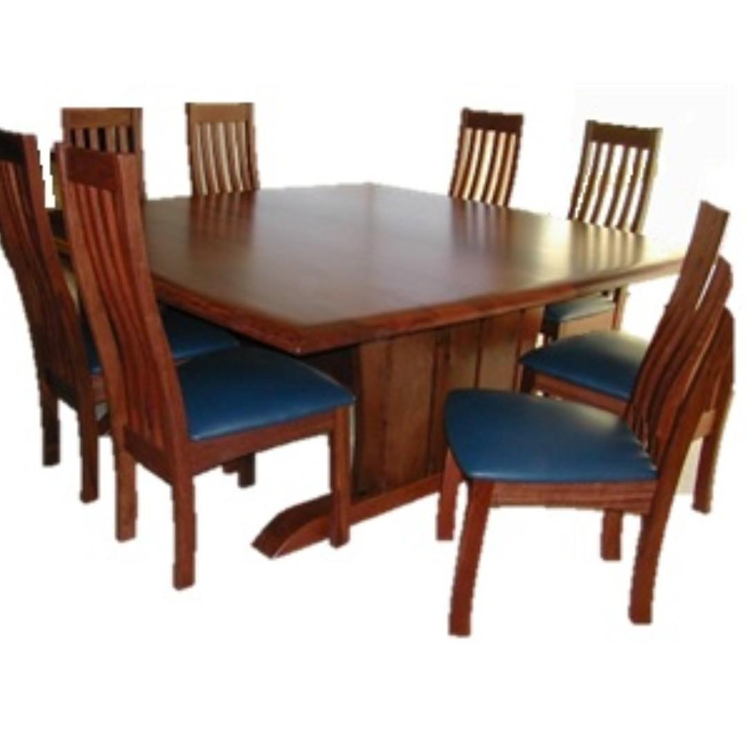 Picture of: Sheldon Leeuwin 8 Seater Jarrah Square Dining Table Furniture Tables Chairs On Carousell