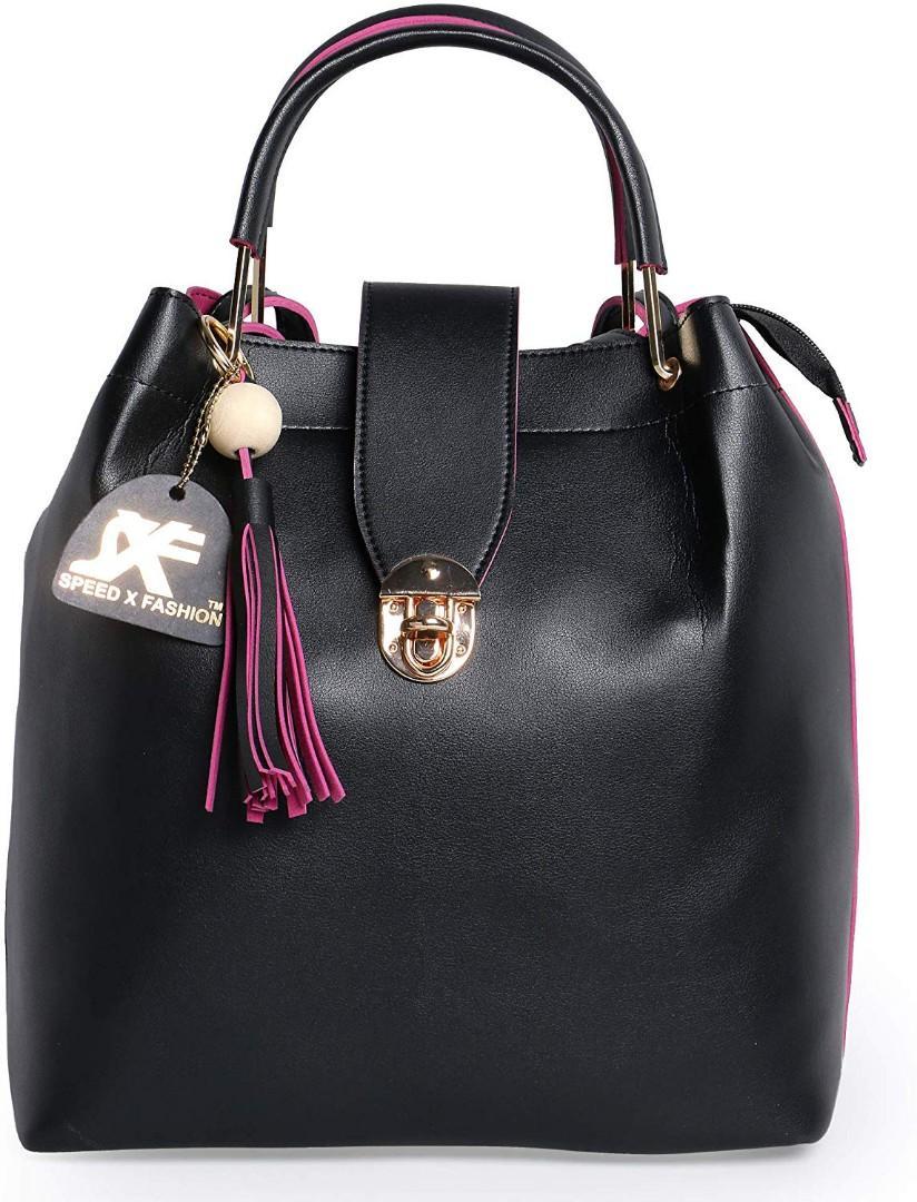 Speed X Fashion Combo Set Pu Leather Shoulder Bags For Women Black Colour Set Of 4 (SRTY000GFR2)