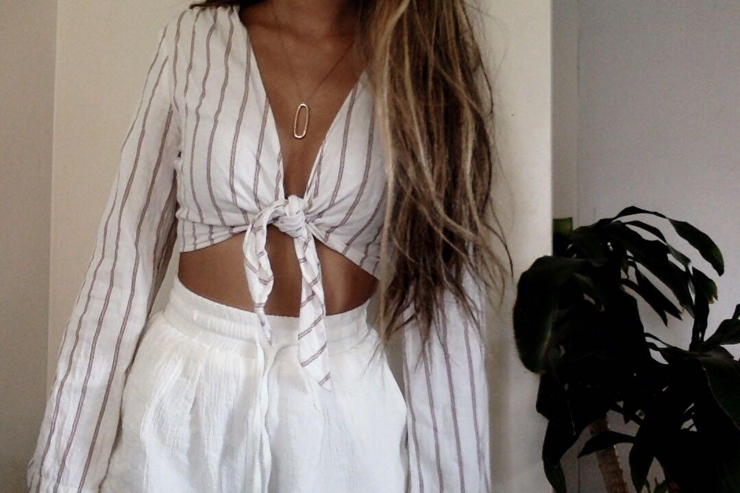 URBAN OUTFITTERS STRIPED TIE TOP