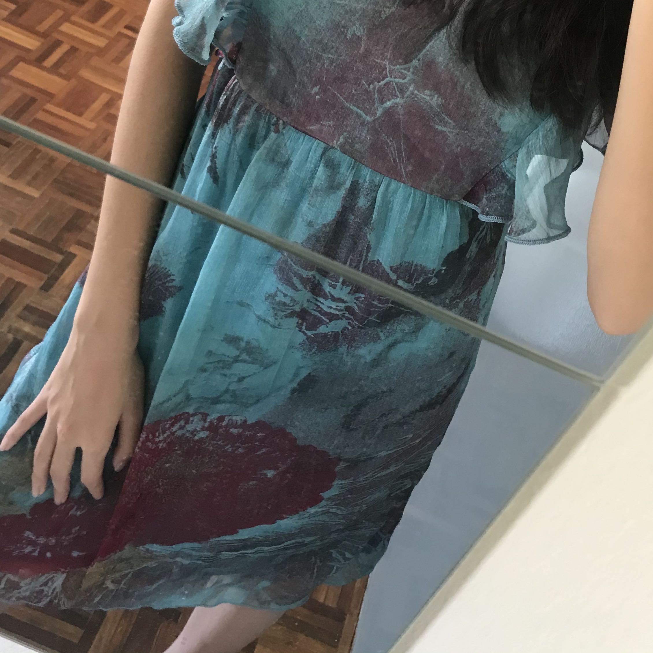 V neck Ocean Coral Ruffles Light Dress