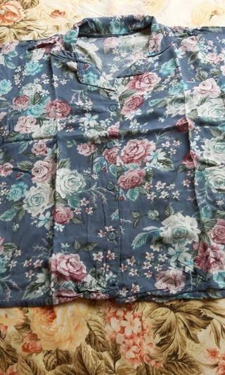 Kemeja Baju berkrah floral