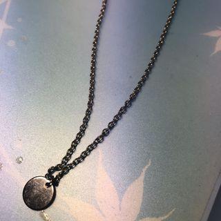 金屬質感百搭光面圓形小圓片吊墜 韓國氣質簡約時尚鎖骨鏈 項鍊