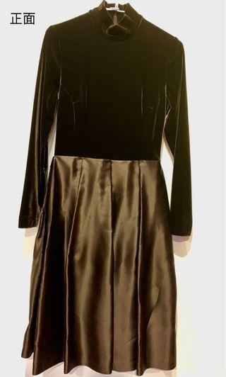 🇯🇵BERNIS🇯🇵百貨專櫃設計師品牌,深棕色、絨質超美麗長袖小高領綢質裙身秋冬高雅洋裝