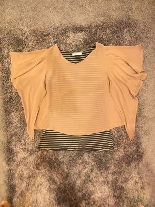 2-pc Top (attachable cotton sleeveless & chiffon blouse)