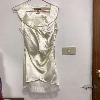 出清-女性無袖U領緞面洋裝 小禮服 正式 喜宴 蕾絲下擺 修身