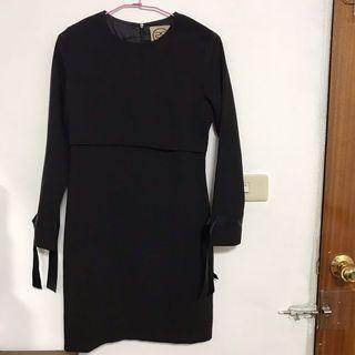 出清-SWEET N'SOUR黑色長袖素面洋裝S號