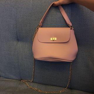 肉粉色 玫瑰色 歐美 鏈條包 側背包 小包