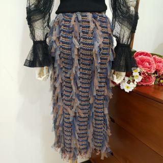 流蘇包臀中長窄裙