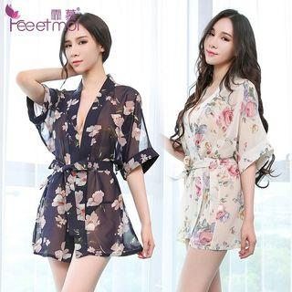 [3 Colors] [READY STOCK] Floral Robe Sleepwear Sexy Lingerie