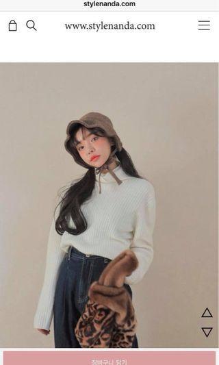 轉賣正韓stylenanda白色小高領針織上衣打底衣喀什米爾羊毛衣