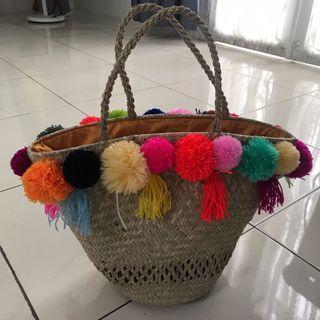 Pompom Rattan Bag