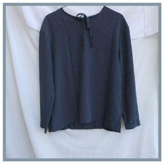 Thrift blouse polkadot navy