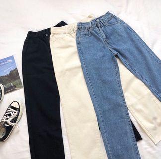 黑色不修邊直筒牛仔褲