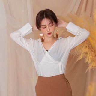 側2釦絲光襯衫-白色
