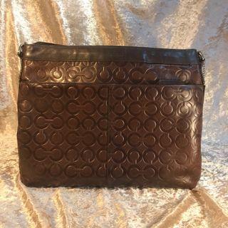 COACH Dark Brown Full Leather bag for Men