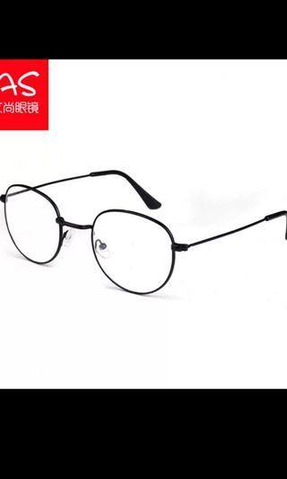 文青 復古圓形 無度數 黑色眼鏡