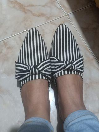 Stripes Ribbon Mules Shoes / Flatshoes