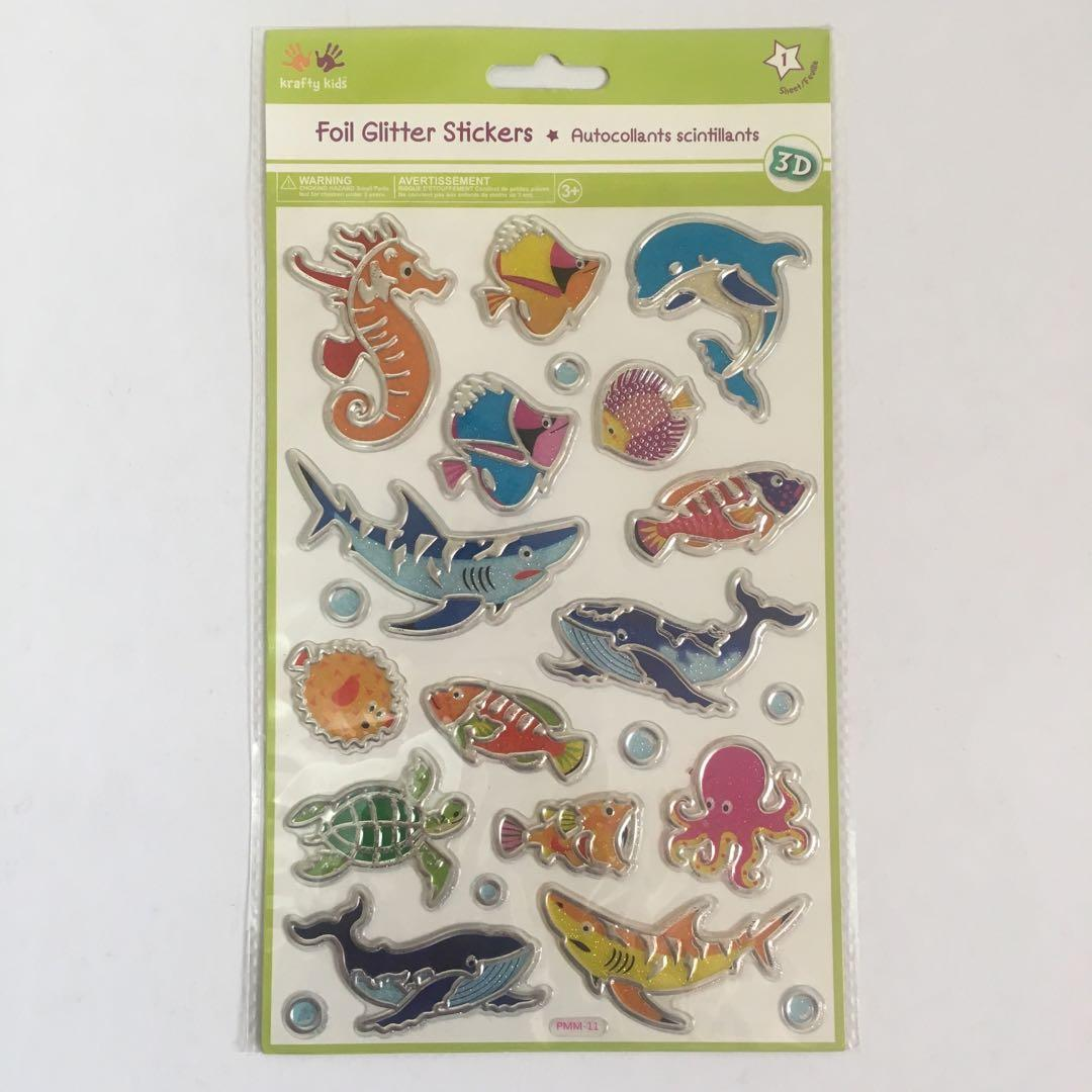 3D Foil Glitter Stickers Sea Creatures - Acid Free - Scrapbooking Planner Crafts