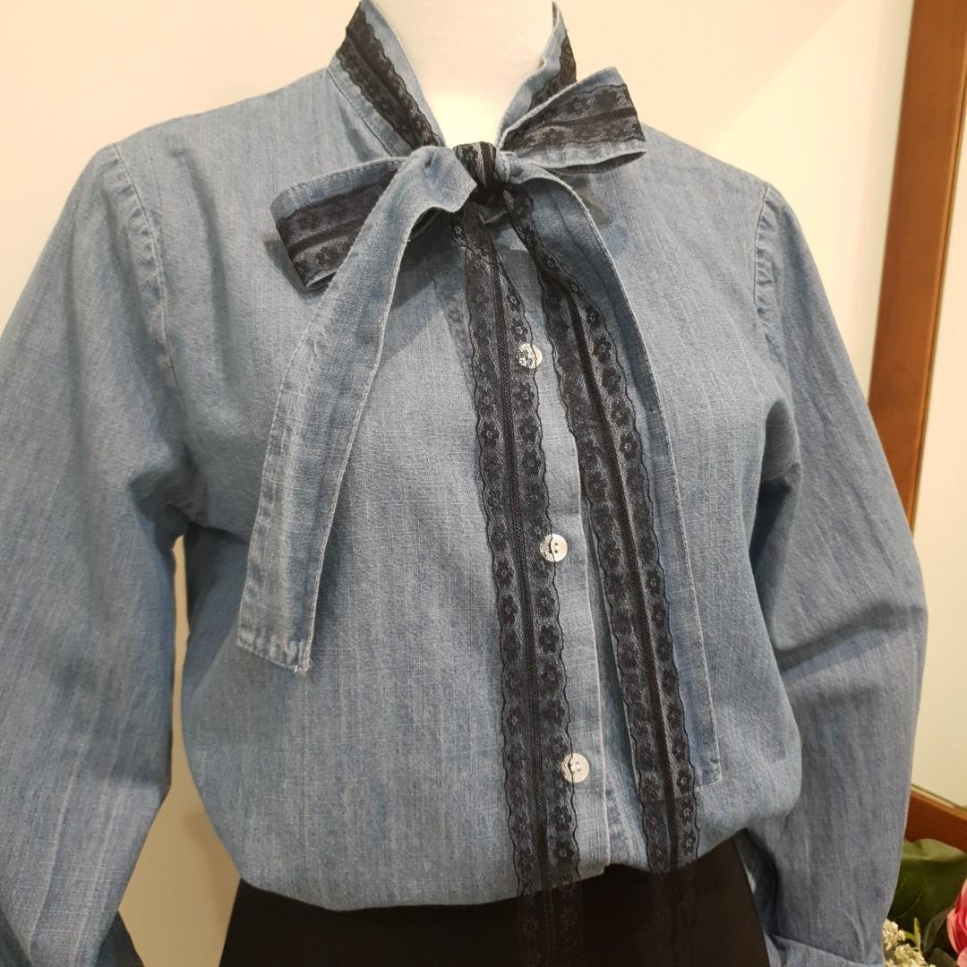 領口蕾絲蝴蝶結牛仔襯衫