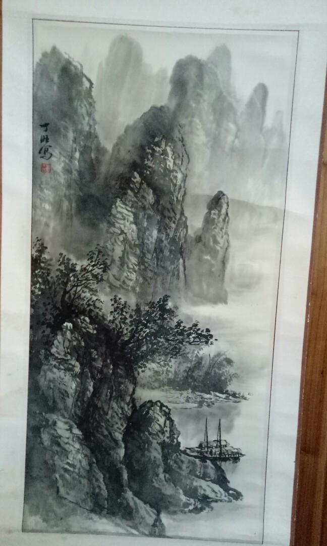 中國水墨畫捲軸