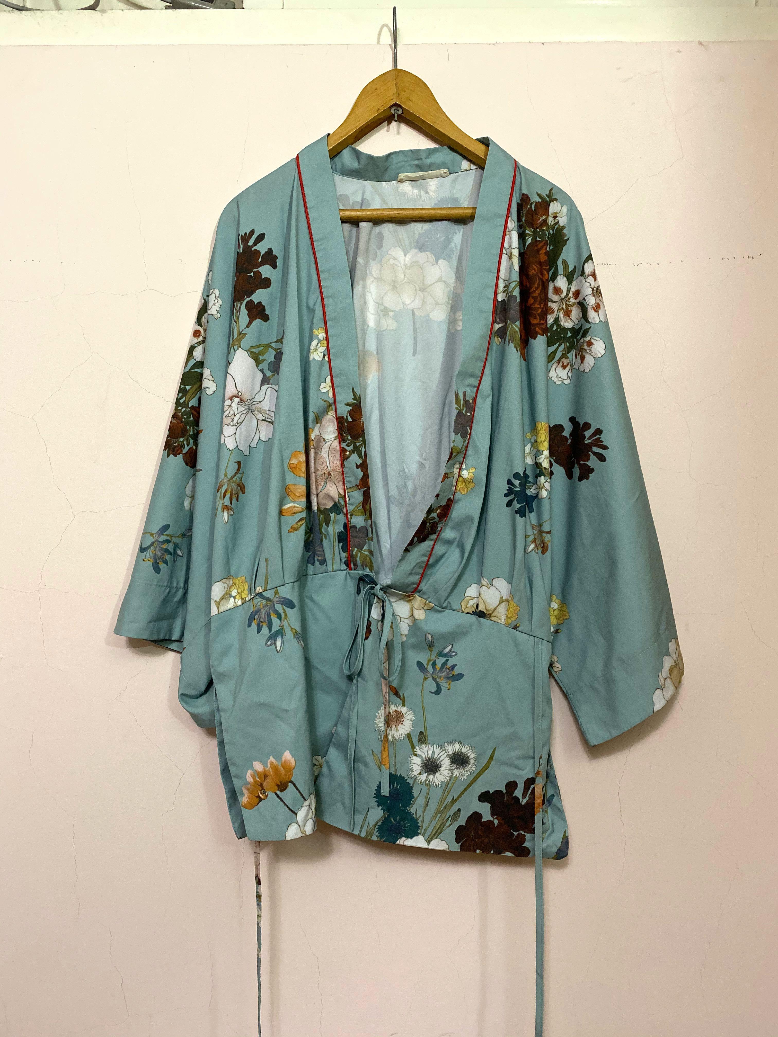 湖水綠滑料和風罩衫 和服 浴衣 日式薄外套