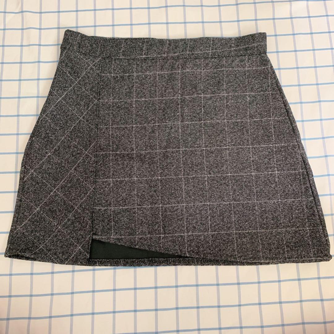 二手 灰色格仔短裙 半身裙 半截裙 skirt