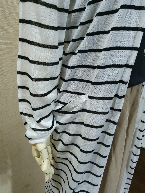 正韓 質感薄針織 條文長版外套罩衫F