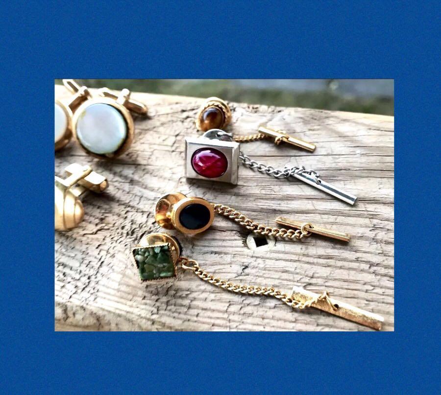 Art Deco Vintage Jewelry Lot Mixed Men's Costume Jewelry