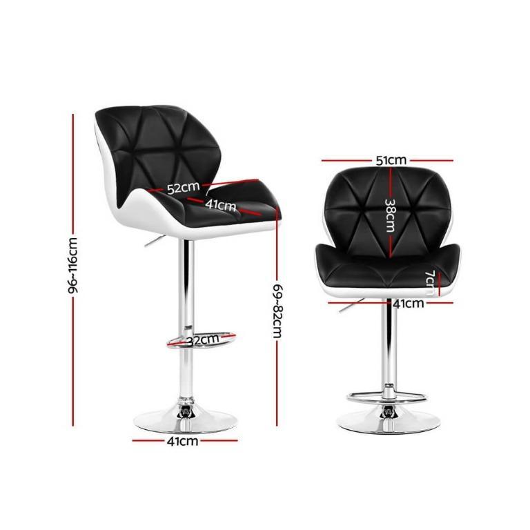 Artiss 2x Kitchen Bar Stools Swivel Bar Stool Chairs Leather Gas Lift Black