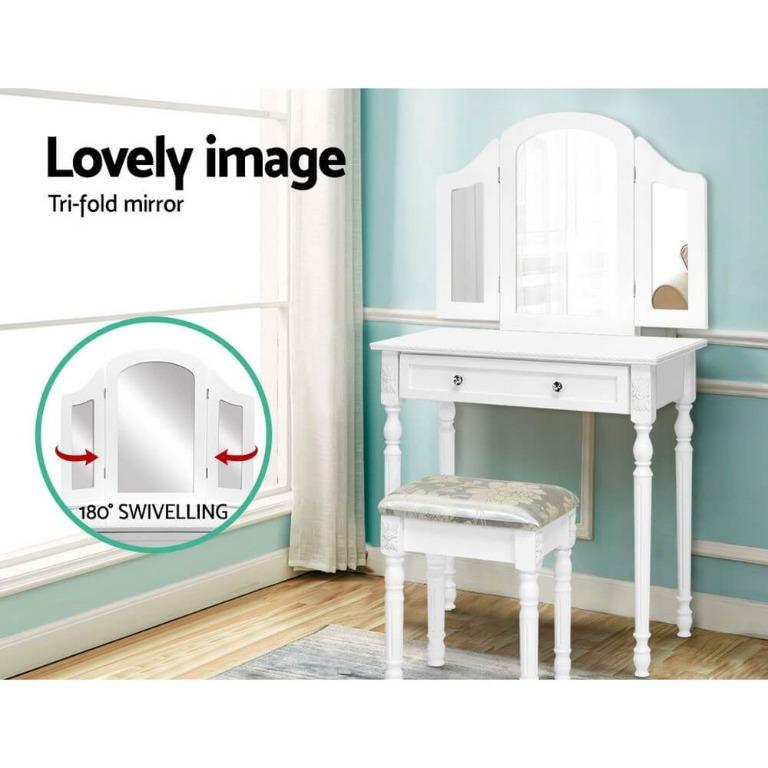 Artiss Dressing Table Stool Mirror White Mirrors Tables Jewellery Cabinet Box