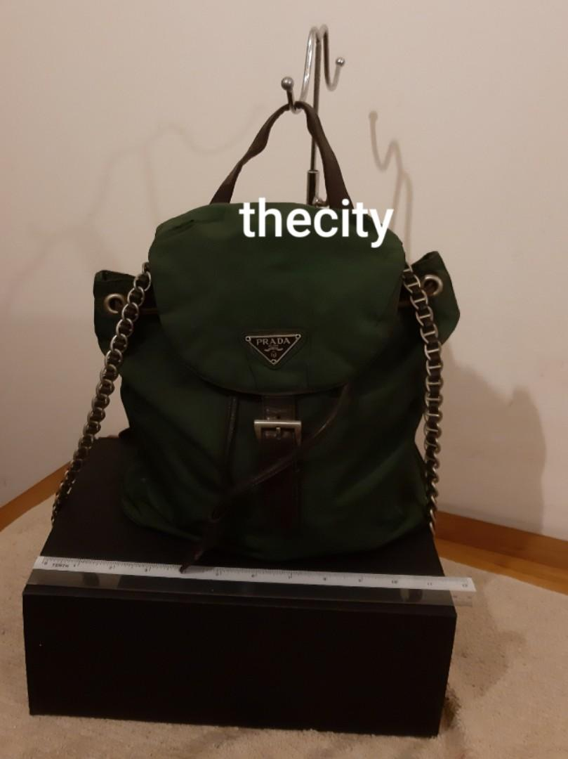 AUTHENTIC PRADA CHAIN SHOULDER STRAP NYLON CANVAS BACKPACK- RARE CHAIN STRAP DESIGN , EXTREMELY HARD TO SOURCE IN RESALE MARKET- (PRADA BACKPACKS NOW RETAIL AROUND RM 6000+)
