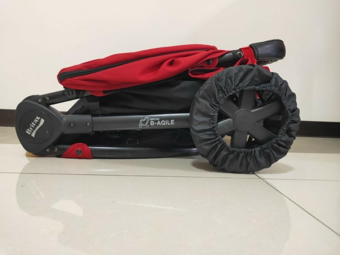 Britax-B-Agile單手收豪華三輪手推車  ,八五成新,贈全新雨遮、蚊帳、推車掛勾、舒適椅墊、手把、輪胎保護套