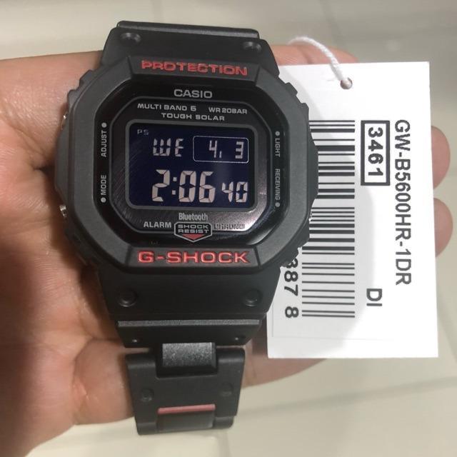 Casio BLUETOOTH GW-B5600HR-1DR G-Shock Digital Sporty Design Black Stainless Steel With Red Resin Composite Band Original Watch GW-B5600HR