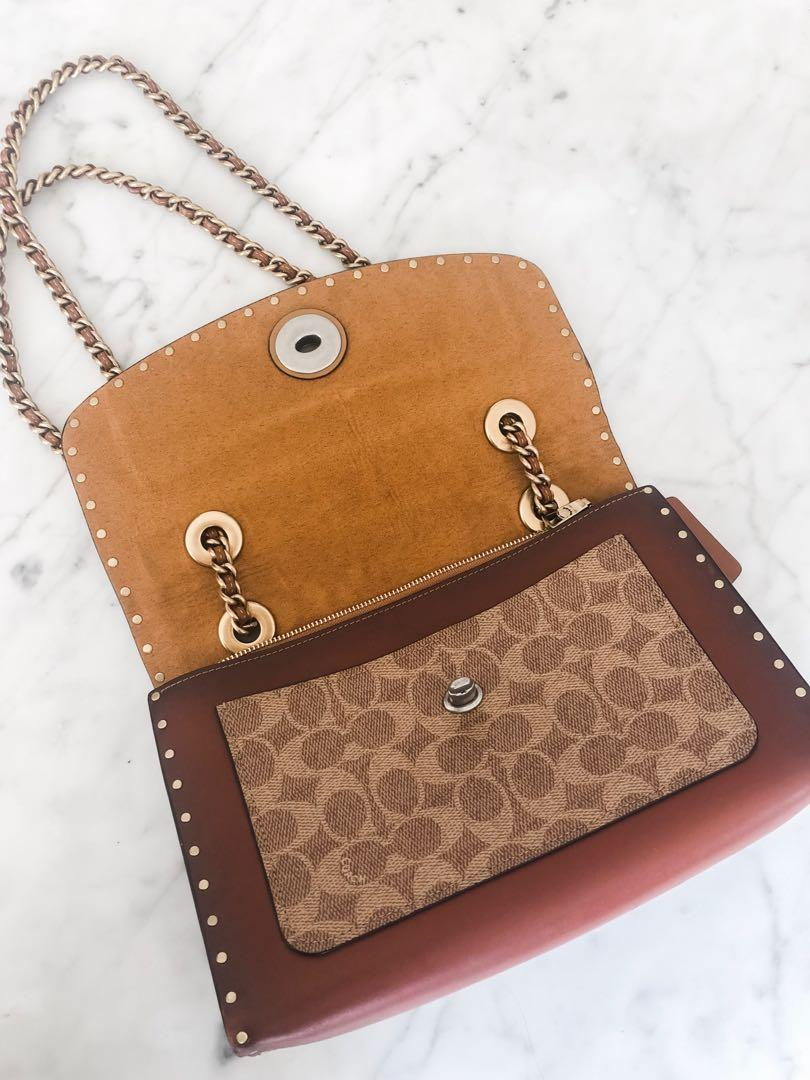 Coach Parker Bag with Border Rivets and Snakeskin Detail