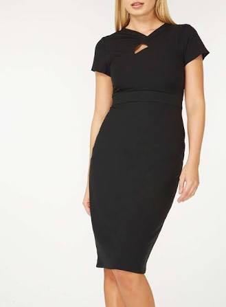 BNWT Dorothy Perkins black polyester twist dress size 6