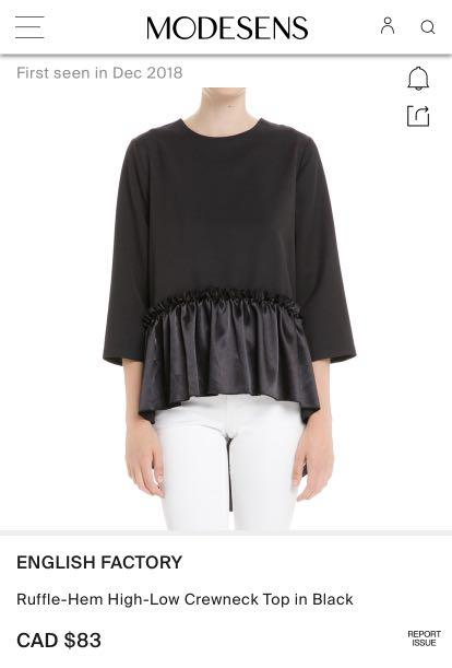 ENGLISH FACTORY Ruffle-Hem High-Low Crewneck Top in Black